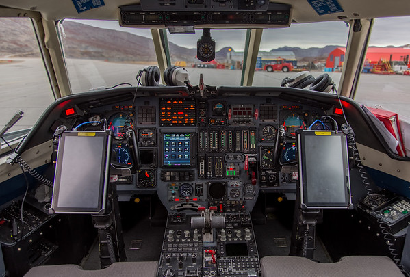 The Falcon cockpit, post-flight