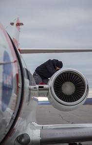 Aircraft Tech Matt, doing a post-flight inspection