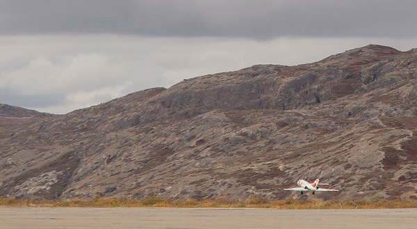 The Falcon during take-off for SW Greenland