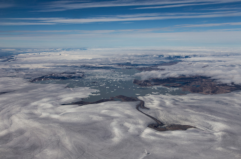 Wide angle view of numerous unnamed glaciers terminating in a lake in SW Greenland