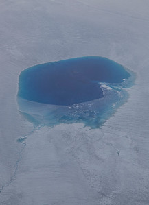 A large surface melt pond in SW Greenland