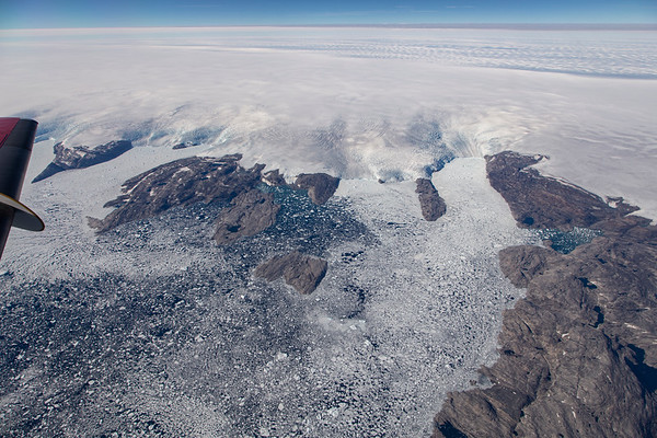 A number of tidewater glaciers along the King Frederick VI Coast