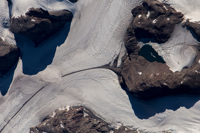 A close-up look at the start of a medial-moraine  on upper Heimdal Glacier