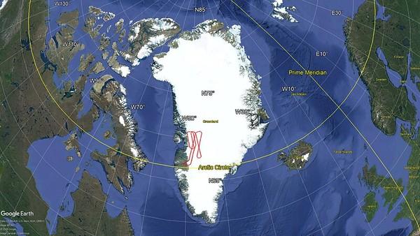Flight path of Thomas - Jakobshavn 01