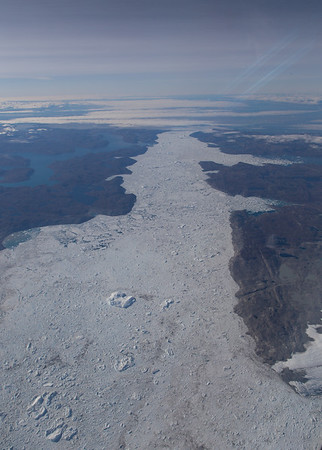 Looking down Jakobshavns Isfjord, full of rubble and icebergs