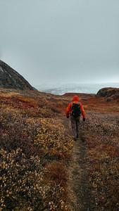 Serdar, hiking to Russell Glacier