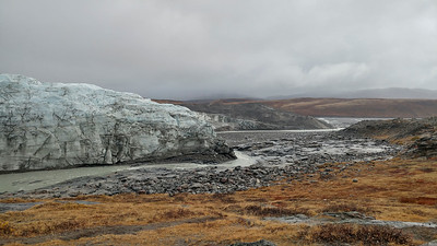 The edge of Russell glacier and its outflow river