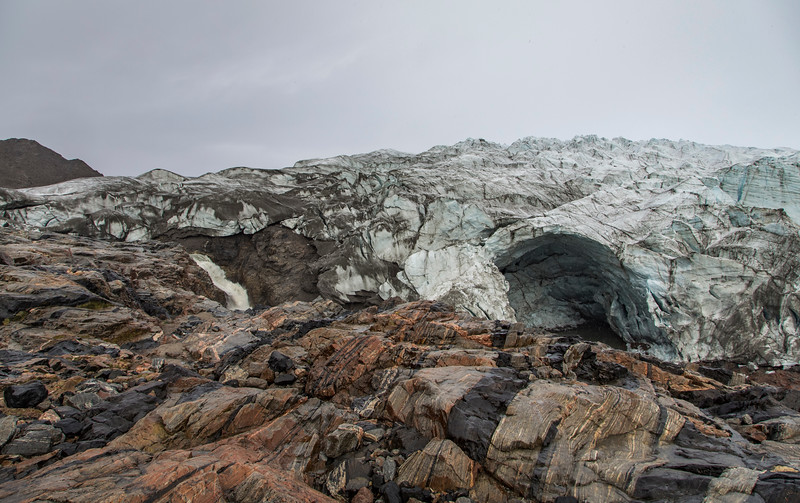 The large ice cave along the front of Russell Glacier
