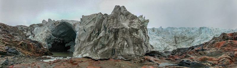 Up-close panorama of Russell glacier