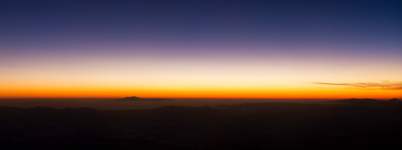 Sunrise over the Andes heading south from Santiago to Punta Arenas