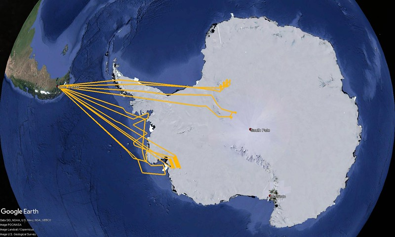 All the flight lines I was on during the 2012 Antarctic campaign