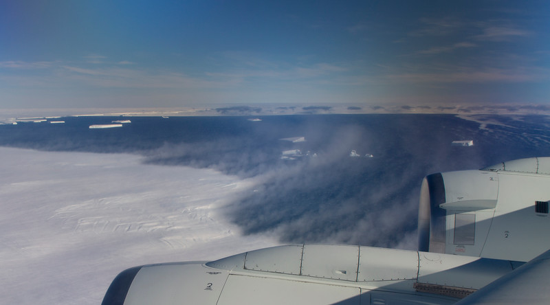 Katabatic winds blowing snow off of Thwaites Glacier, out over open water