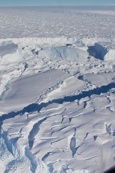 Large tabular icebergs, recently broken off the Thwaites ice tongue