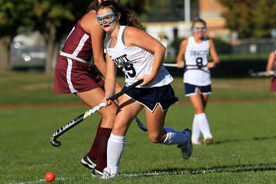 Dracut field hockey player Molly Jones goes after the ball during action in their match up with Chelmsford on Monday afternoon. SUN/JOHN LOVE