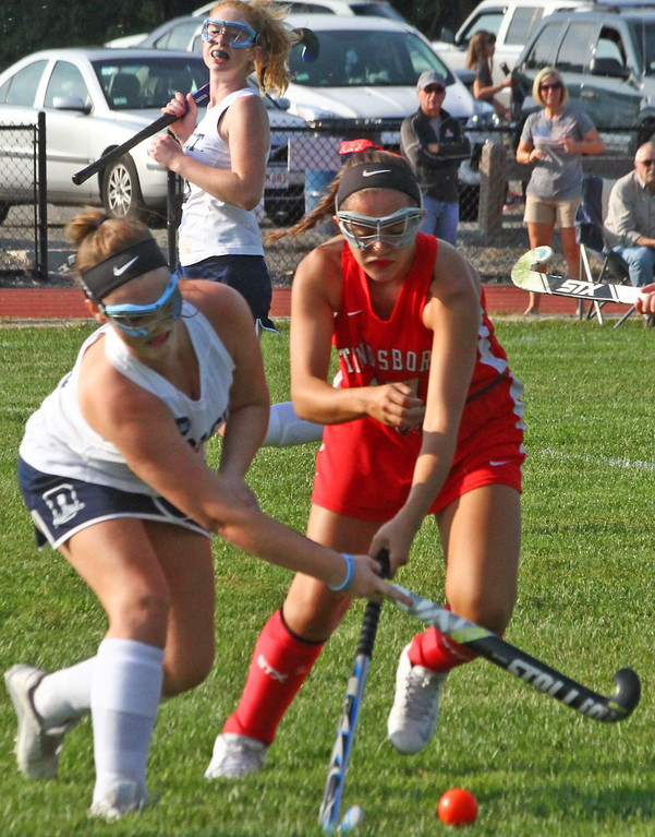 . Dracut FH player #19-Molly Jones and Tyngsboro #17-Natalia Correra battle for control of the ball. SUN Photo by David H. Brow