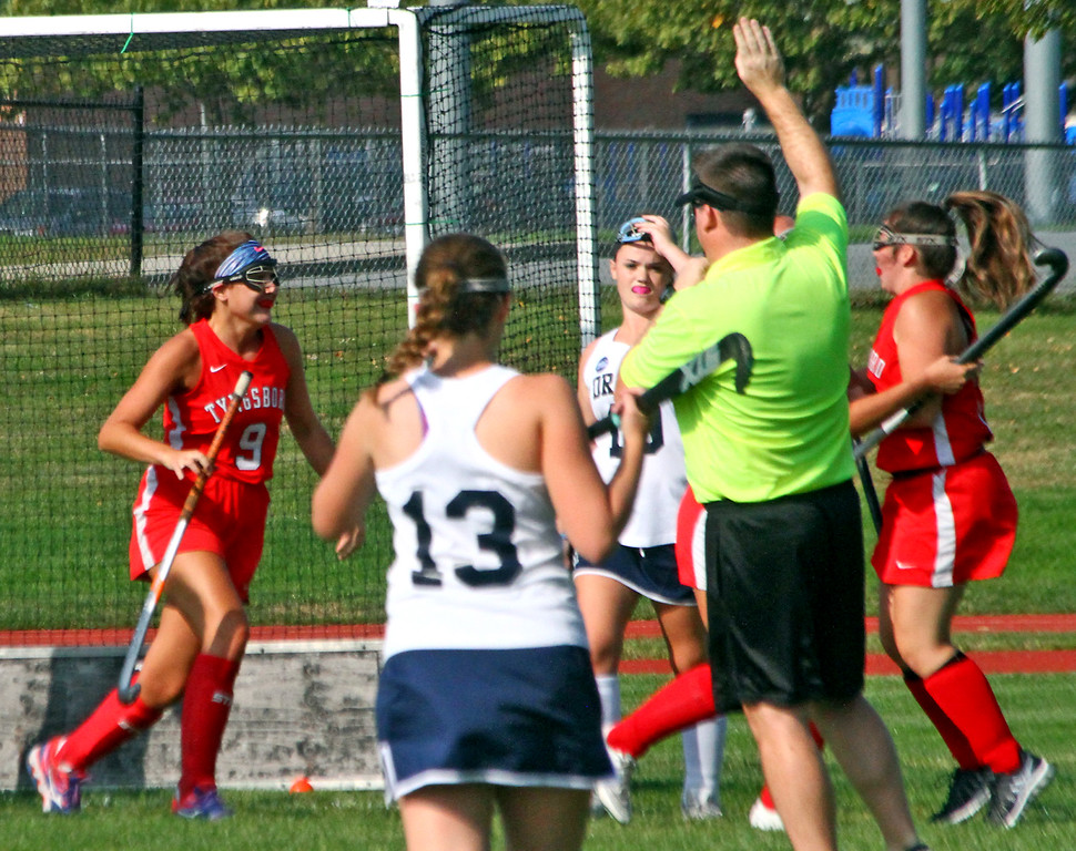 . Tyngsboro FH player #9-Amanda Leal rushes to her team-mate #23-Mary Vincent after Vincent made the first and only goal for Tynsboro, they played Dracut on their home field, Dracut won, 2~1. SUN Photo by David H. Brow