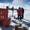 When working in extreme environments like Antarctica, cross-collaboration is extremely important. Herre, UNAVCO field engineer Thomas Nylen meets up with PASSCAL engineer Narendra Lingutla at the Lower Erebus Hut (LEH). January 4, 2018. (Photo/Annie Ziano, UNAVCO)