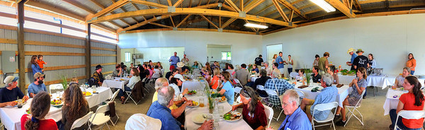 Dinner featured delicious organic pork, lamb and beef from Farmland LP operations.iPhone 5 panorama.