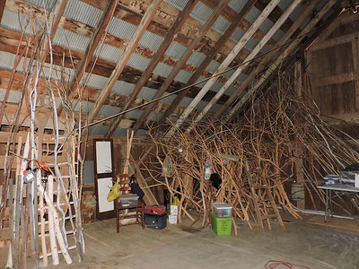 Photo series predominanly upper loft of the barn that has been transformed into Cherie's studio.