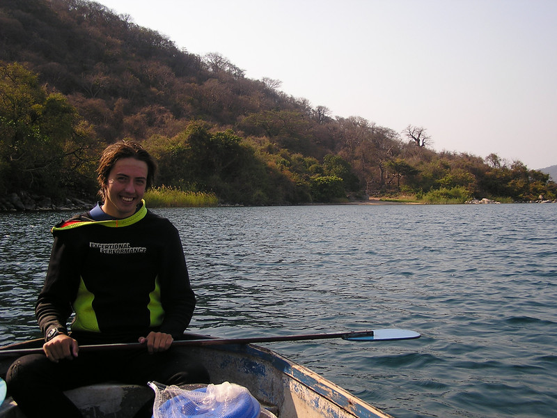 Me and Lucky Boat No. 1 in front of Thumbi West Island, my study site in Lake Malawi.
