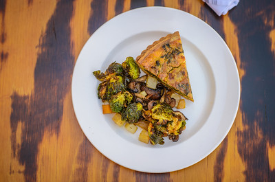 Spinach, Artichoke, & Goat Cheese Quiche with Season Vegetables