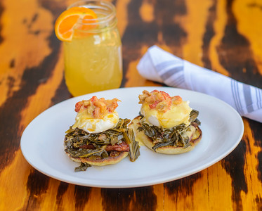 Creole Eggs Benedict with Collard Greens and Crawfish Hollandaise