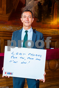 Paris, France, AIDS NGO AIDES, French People, Holding Protest Signs Against Discrimination, International Day Against Homophobia, IDAHOT, Portraits, François Dagnaod