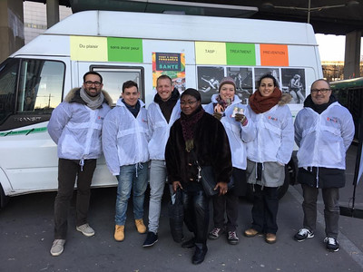Montreuil, France, AIDES Militantes, Tom, Maxime, Dec. 1, Hermetic , HIV Testing  at Home Project