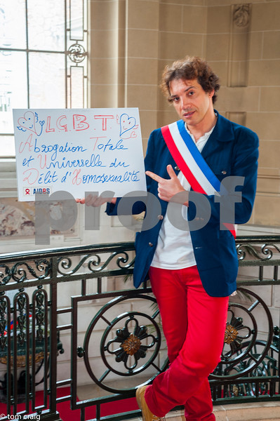Paris, France, AIDS NGO AIDES, French People, Holding Protest Signs Against Discrimination, International Day Against Homophobia, IDAHOT, Portraits, David Cherid