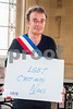 Paris, France, AIDS NGO AIDES, French People, Holding Protest Signs Against Discrimination, International Day Against Homophobia, IDAHOT, Portraits,Bruno Lapere