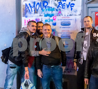 "Paris, France, PrEP, HIV Prevention Activists putting up Protest posters in the Marais Neighborhood ""Free PrEP Now"""