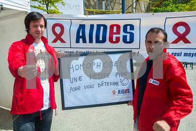 Sevran, France, AIDS NGO AIDES, French People, Holding Protest Signs Against Discrimination, International Day Against Homophobia, IDAHOT, Portraits,
