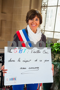 Paris, France, AIDS NGO AIDES, French People, Holding Protest Signs Against Discrimination, International Day Against Homophobia, IDAHOT, Portraits, Violette Baranda,