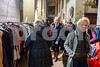 Paris, France, French People Shopping, inside Unusual Christmas Market in le Marais Church,