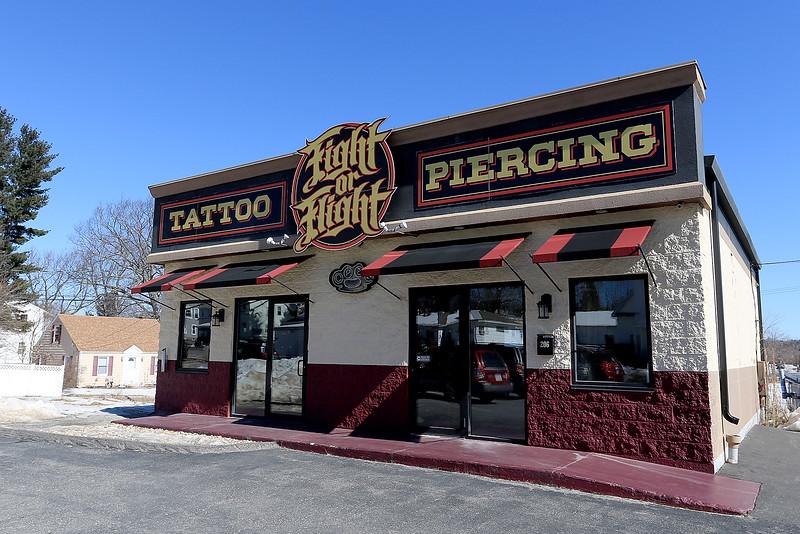 Fight or Flight Tattoo Piercing on Summer Street in Fitchburg. SENTINEL & ENTERPRISE/JOHN LOVE