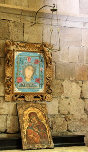 The blue icon is a copy of the famous icon of the Virgin of Filerimos.  The icon is said to have performed miracles.  Since 2002, the original has been kept in the Blue Chapel of the National Museum of Montenegro and a copy has been put in its place.