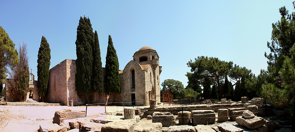 Ruins of a baptistery in front of the Church of Our Lady of Filerimos.  It dates back to the 14th century.