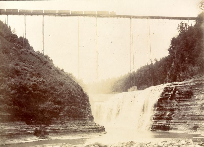 Upper Falls and Train circa 1900 / Photo by Albert T. Hill