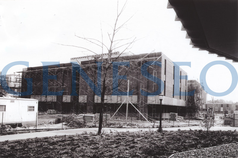 1970 Greene Science Opened<br /> The College continued its tradition of naming administrative and academic buildings after prominent college and local figures, naming the Greene Science Building after longtime science faculty member Robert Greene, who taught for 38 years and received the college's first Distinguished Service Award.  Photo: The exterior of Greene Science building neared completion in November 1968. Bailey Science Building is seen in the right background. (norman Miller photo, Facilities Planning Office)