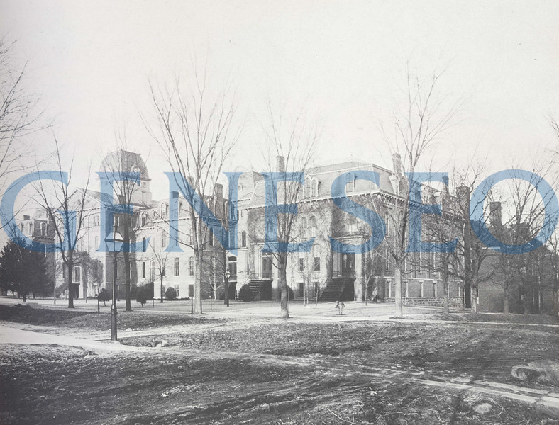"""1871 Old Main<br /> The normal school's first building, Old Main, was completed in April. Old Main's design was adapted from Fredonia's Normal School. The 11,418-square-foot, 3-story building was steam-heated, gas-lit, and had hot and cold running water. The top floor served as a boarding hall to female students who paid $3.50 per week for room and use of the laundry facilities. The boarding hall provided """"parlors for students, assembly room, which might be used for calisthenics for lady students, lavatories, and sleeping apartments."""" Old Main stood for eighty years and was razed in 1951–52."""