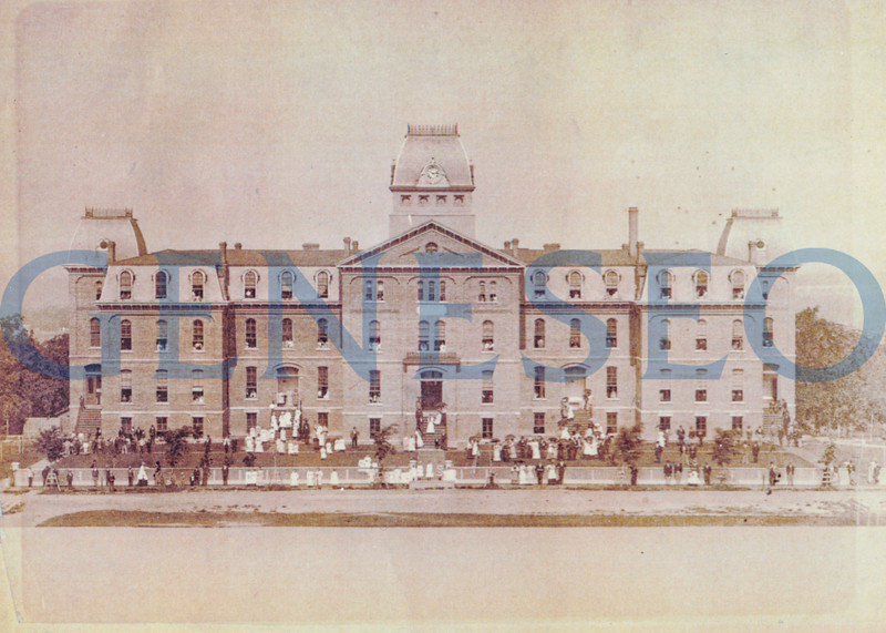 """1871 Old Main <br /> The normal school's first building, Old Main, was completed in April. Old Main's design was adapted from Fredonia's Normal School. The 11,418-square-foot, 3-story building was steam-heated, gas-lit, and had hot and cold running water. The top floor served as a boarding hall to female students who paid $3.50 per week for room and use of the laundry facilities. The boarding hall provided """"parlors for students, assembly room, which might be used for calisthenics for lady students, lavatories, and sleeping apartments."""" Old Main stood for eighty years and was razed in 1951–52."""