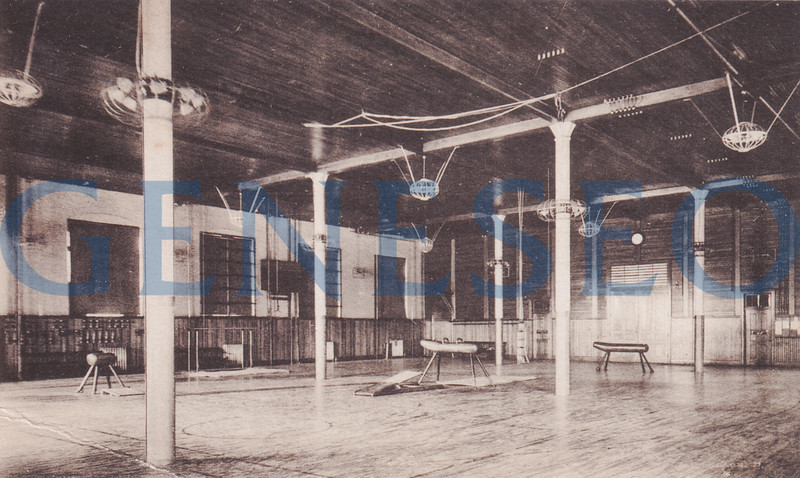 1905 James Sturges, the First Post-Milne Principal. <br />  [photo of Old Main gym Mahood p46]