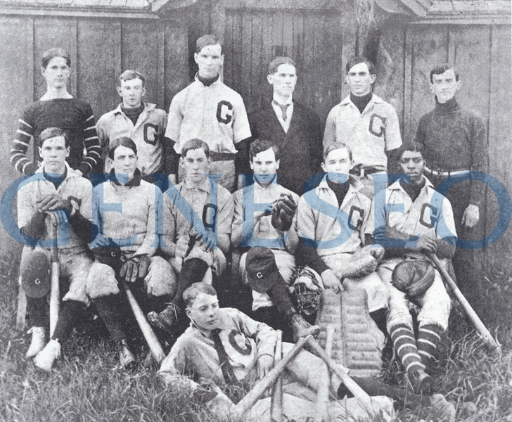 1905 James Sturges, the First Post-Milne Principal. Photo: The 1905 baseball team members were (front): unidentified; (middle, from left): Clarence Rogers, Dallas Newton, John Fraser, John Freeman, unidentified, Earl Tripp, John Stickney, coach Carl Schrader, Howard McNaughton, Charles Toole. (Livingston County Historian)