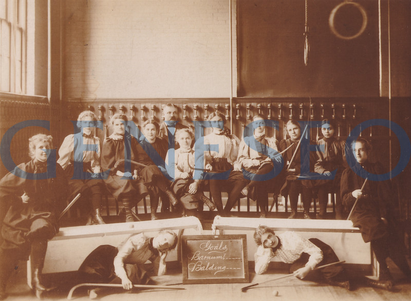 1905 James Sturges, the First Post-Milne Principal. Photo: Director of Physical Culture Henry Patten's 1897-98 shinny team (a sport similar to field hockey) posed in Old Main's gymnasium surrounded by exercise equipment. Team members included Gertrude Barnum, Della Balding, Edith Warford, Alice Davey, Catherine Lotz, Anna Winans, Belle Houce, Maybell Roper, Cystine Lotz, Naomi Hooker, Mary Streamer, and Ava Hooker. (Houseknecht photo, Livingston County Historian)