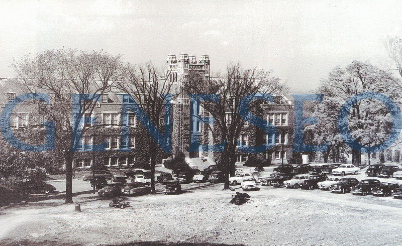 1948 State University of New York Established<br /> Geneseo became part of the new State University of New York system, with 30,000 students enrolled across 33 institutions. Photo: In the early 1950s, faculty parking was conveniently located on the quadrangle in front of Sturges Hall.