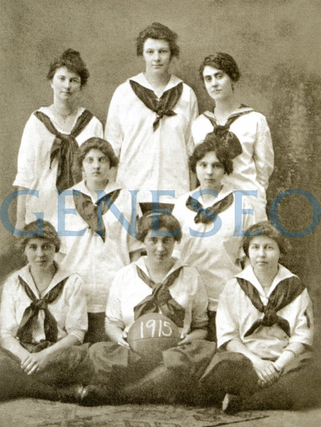1905 James Sturges, the First Post-Milne Principal. Photo: Members of the 1915 women's basketball team wore the typical women's athletic costume of the era.