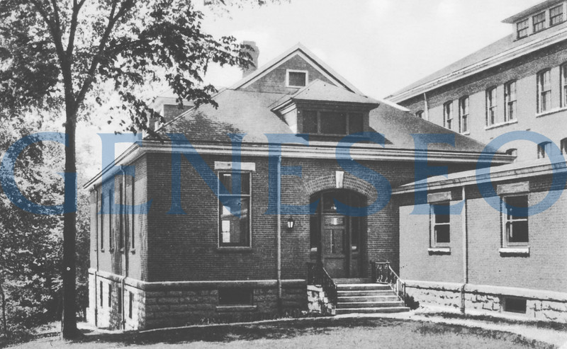 1903–04 New Library Wing<br /> Addition of the library wing to house the school's 3–5,000 volumes (with a swimming pool in the basement) was added to the south end of Old Main.