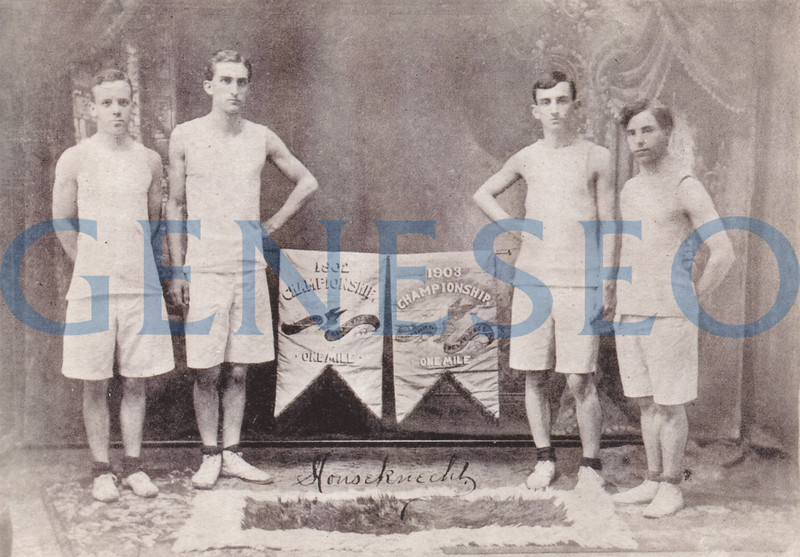 1905 James Sturges, the First Post-Milne Principal. Photo: Proud members of the Philalethean fraternity's 1902-1903 championship track team demonstrated the winning athletic spirit that remains a Geneseo tradition: (from left) William Whitmore, Leland Bartoo, Charles Toole, William Flynn. (Houseknecht photo, Livingston County Historian)