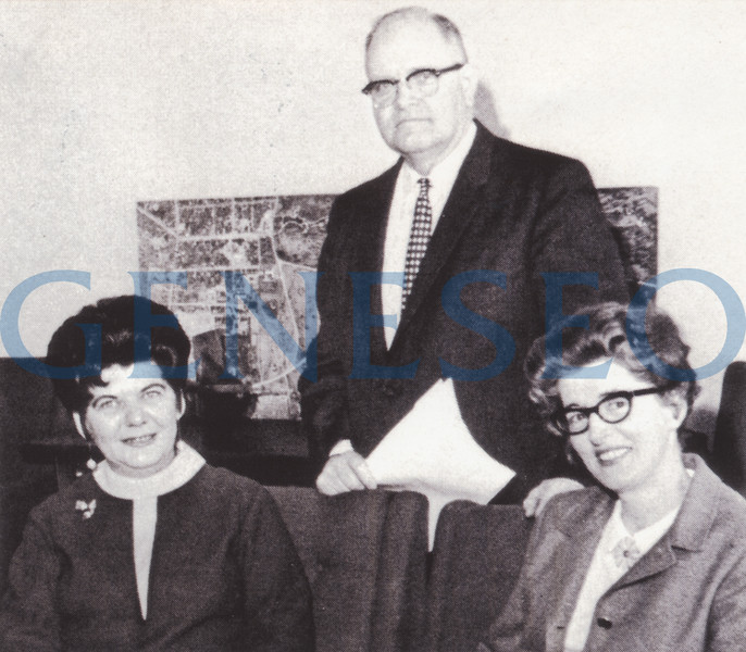 1963 MacVittie Named President<br /> Francis Moench retired, and Robert W. MacVittie—for whom the MacVittie College Union was named—became president, serving from 1963 until 1979, with a bonus stint as acting president in 1988–89. Photo: President MacVittie was aided by a capable staff (from left): Lenora McMaster, Fred Bennett, and Theodora Greenman. (1968 Oh Ha Daih)