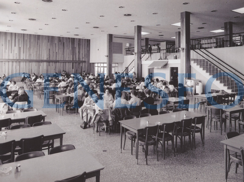 """1960<br /> Mary Jemison (MJ) Dining Hall Opened<br /> Students enjoyed their meals in the newly constructed Mary Jemison Dining Hall, which featured tall windows looking over the valley. Starting the tradition of naming dining halls after prominent figures in local history, MJ is named in honor of Mary Jemison, the """"White Woman of the Genesee"""" (Deh-he-wä-nis), a colonial frontierswoman who had been taken by the Senecas as a youth, adopted by a Seneca family, and eventually married and lived within the Seneca culture."""